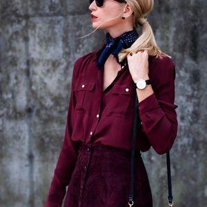 J Crew Blythe silk button up shirt red wine maroon
